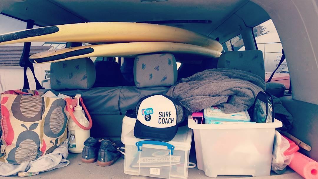 Back of the surf school van essentials @surfinggb @korevlager