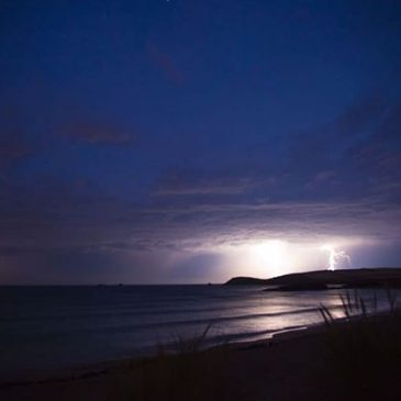 Fork lightning over #trevosehead in 2014. It's pretty rare around here to get a classic summer lightning storm